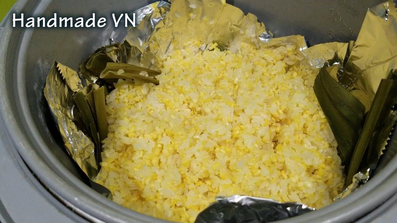 Cách nấu  (xôi vò) xôi đậu xanh bằng nồi cơm điện
