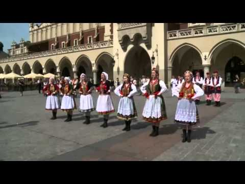 Dance Krakowiak Beautiful Polish falk dance Dancing in the street