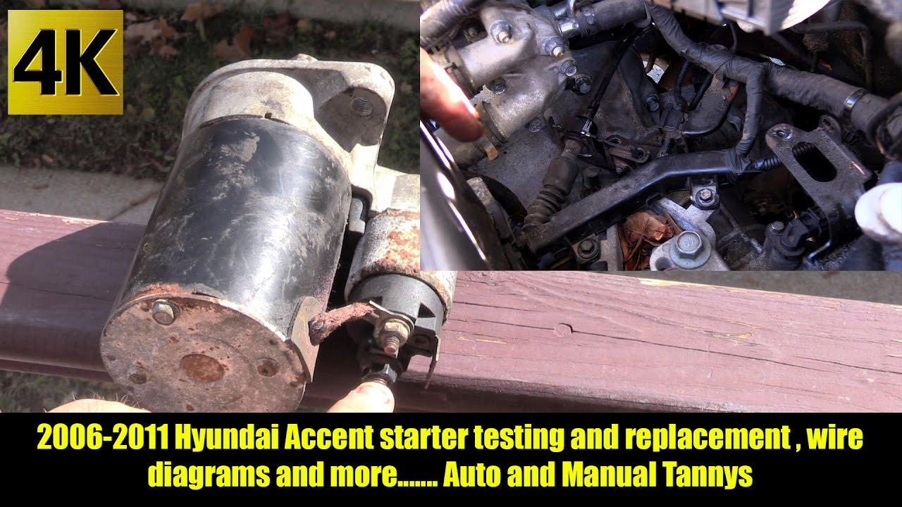 starter replacement and testing for 2006 2011 hyundai accent auto and manual trannys 4k [ 1280 x 720 Pixel ]