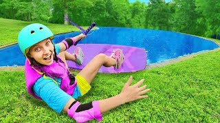 Surfing in Backyard Pond Ultimate DIY Sis vs Bro Challenge for 10000