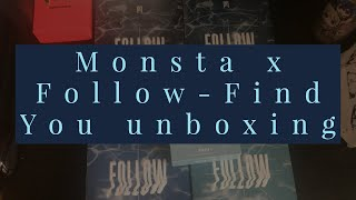 Gambar cover Monsta X Follow-Find You versions 1,2,3,4 & Kino album's Unboxing