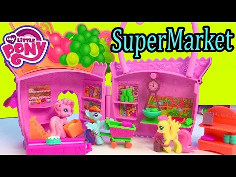 My Little Pony Supermarket Grocery Food Store Pinkie Pie Ponyville MLP Playset Unboxing Toy Review