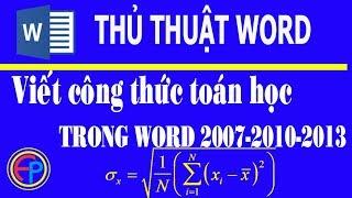 Viết công thức toán học trong word 2007-2010-2013 | shop an phước