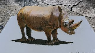 HOW TO DRAW RHINOCEROS ✅ - 3D Trick Art on Paper - By Vamos