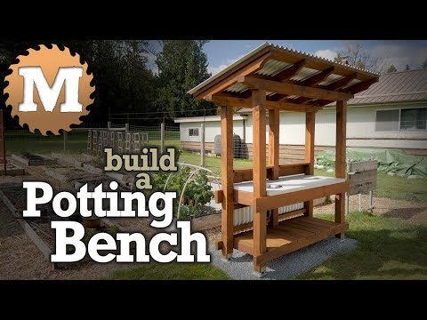 Build a Potting Bench with Cast Concrete Countertop and Roof for your Garden