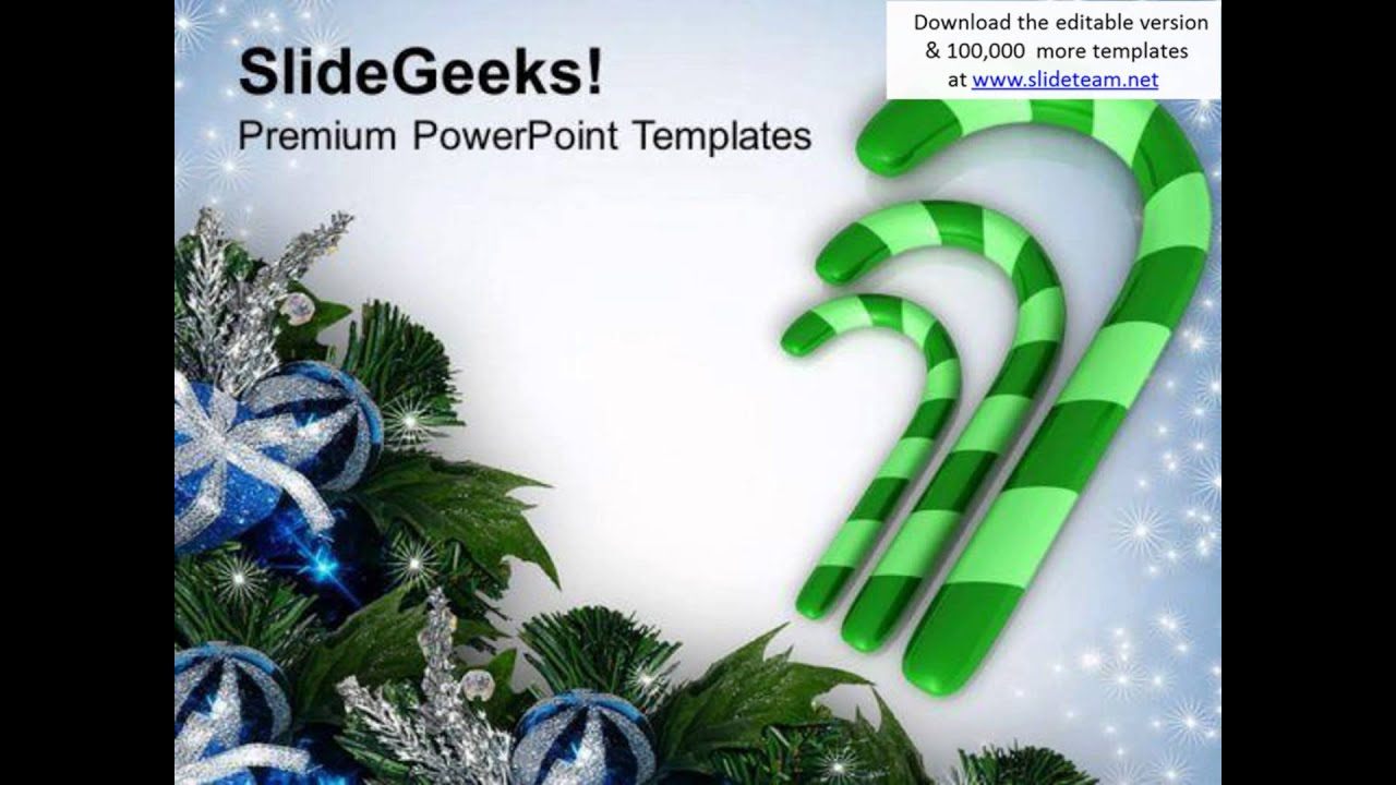 3 Green Candy Cane Christmas Powerpoint Templates Ppt Backgrounds