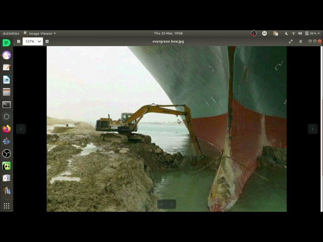 MV Ever Given, Evergreen Container Ship Aground at the Suez Canal. 25th March 2021
