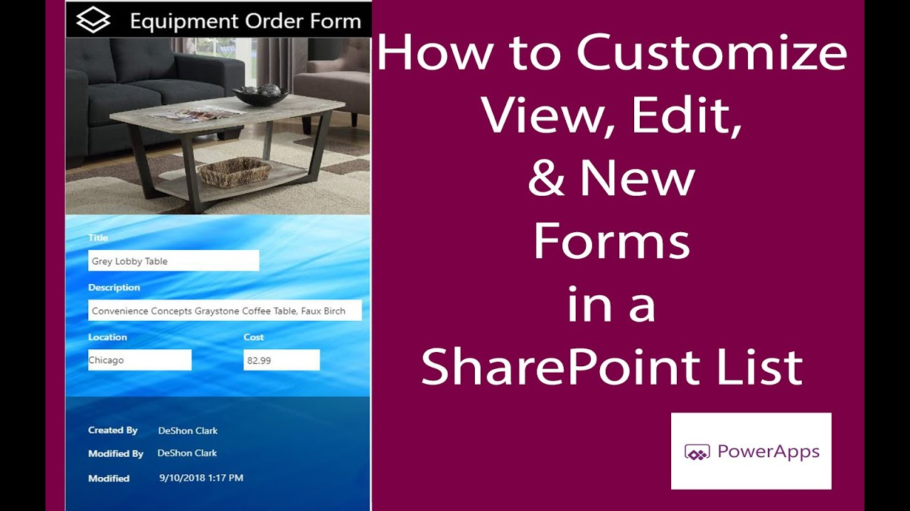 PA: 2 of 5 | Customizing New, Edit, View Forms SP List - PowerApps Tutorial  for Beginners