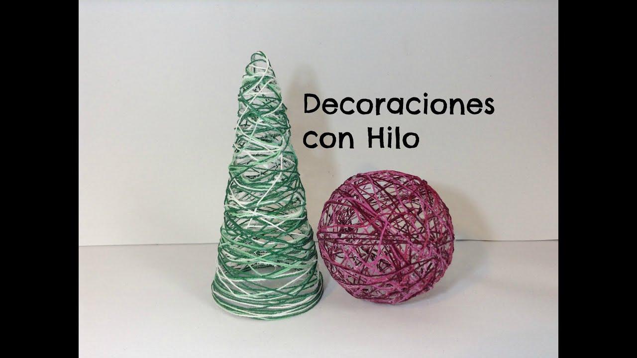 C mo hacer adornos de navidad con hilo manualidades - Manualidades faciles navidad ...