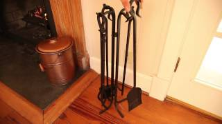 Hand-Forged Iron Fireplace Tools and Stand Set SKU#36163 - Plow & Hearth