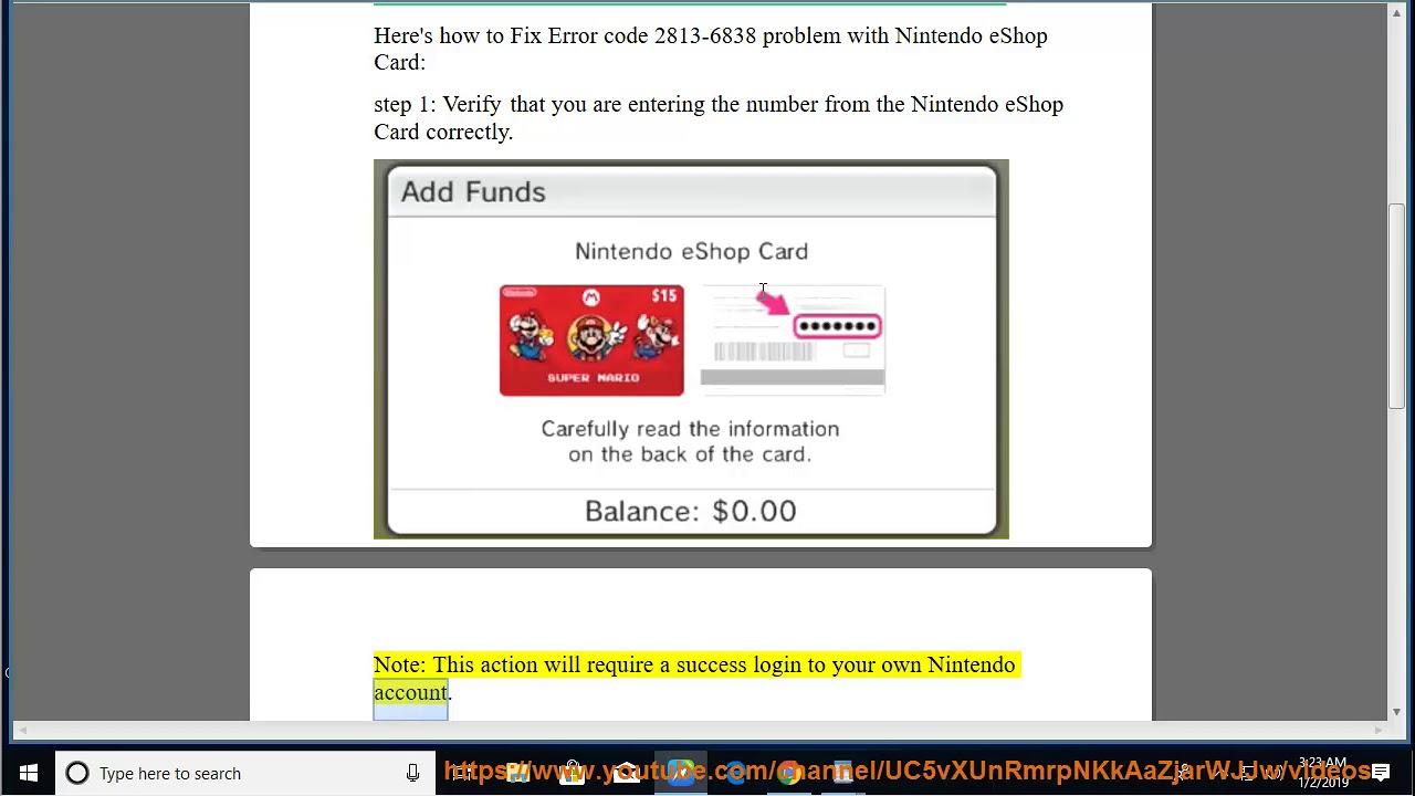 Nintendo Eshop Karte Code.Fix Error Code 2813 6838 Problem With Nintendo Eshop Card