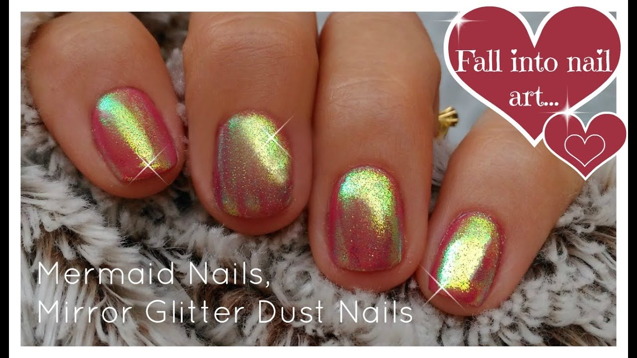 DIY Mermaid Nails | Mirror Glitter Powder, Chrome Nails Trend ...