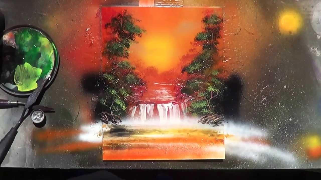 Spray Paint Art Nature Scene Youtube