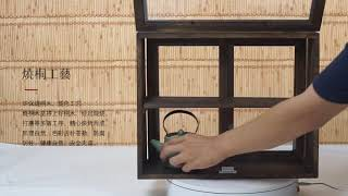 빈티지 우드쇼케이스 디저트 카페인테리어 원목선반장
