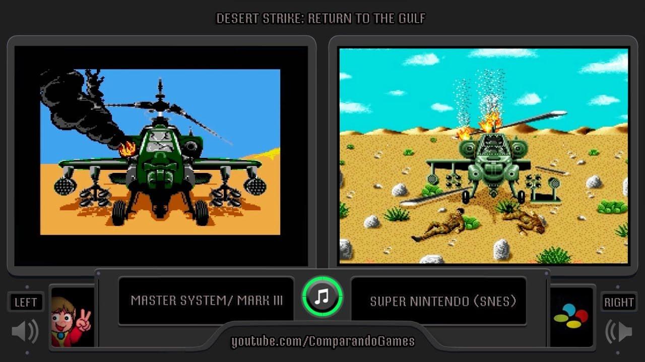 Desert Strike Master System Vs Snes Side By Side Comparison Youtube