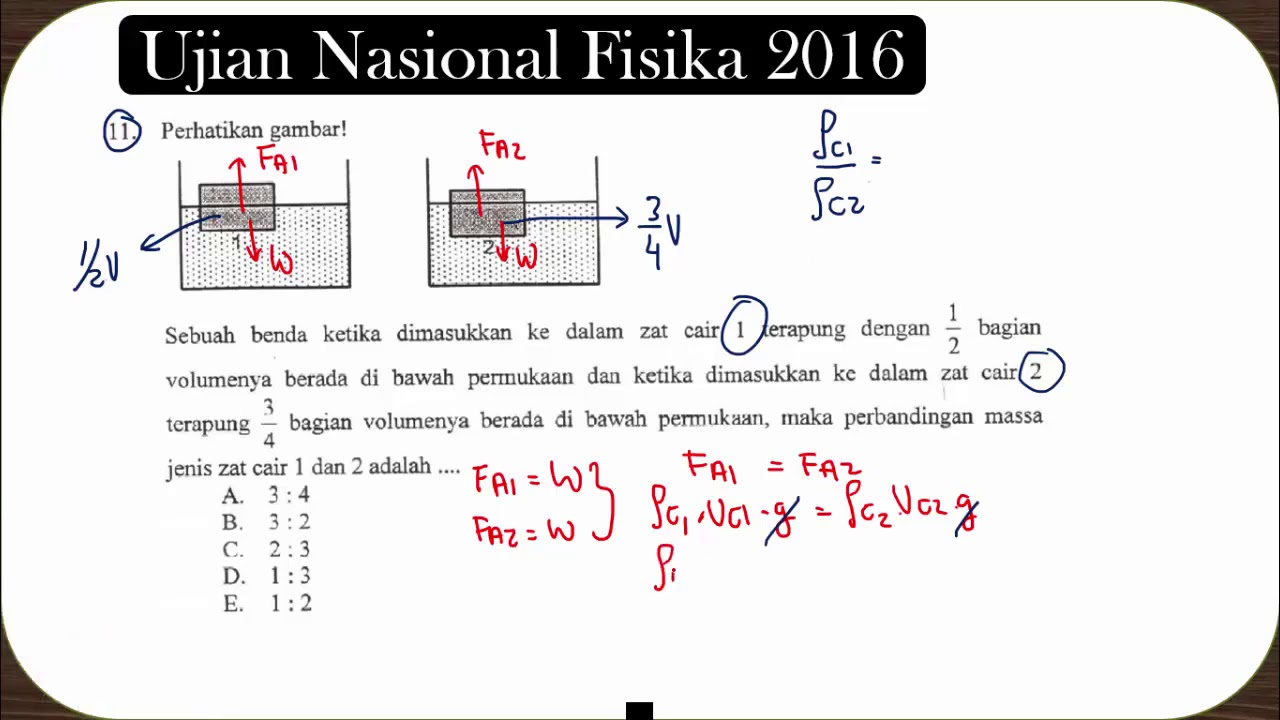 Hukum Archimedes Perbandingan Massa Jenis Benda Terapung Soal Ujian Nasional Fisika 2016 No 11 Youtube