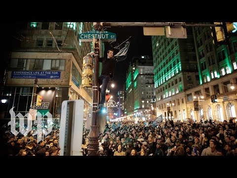 Eagles fans get rowdy in the streets of Philadelphia after Super Bowl victory