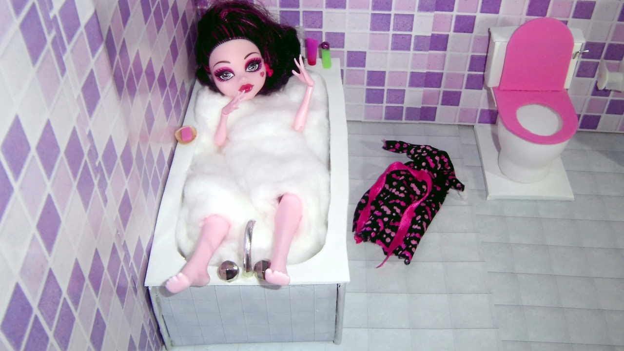 Amazing How To Make A Bathroom (bathtub) For Doll Monster High, Barbie, Etc    YouTube