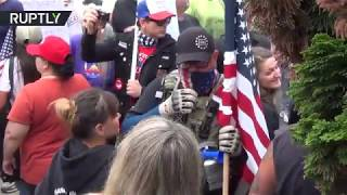 Trump supporters clash with leftist activists at Oregon rally
