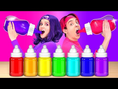PINK VS PURPLE FOOD CHALLENGE || Eating One Color Bottle Jelly Mukbang! Fondue 24 HRS By 123GO! BOYS