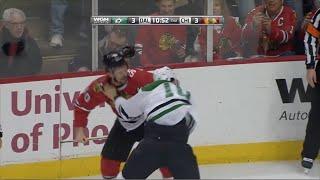 Patrick Sharp vs. Shawn Horcoff Fight 1/18/2015 PAT FOLEY CALL Chicago Blackhawks vs. Dallas Stars