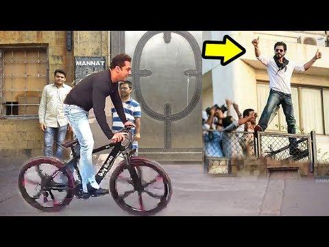 Salman Khan Cycling In Front Of Shahrukh Khan's House Mannat In Mumbai