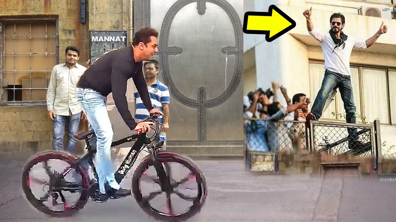 9a16616f407 Salman Khan Cycling In Front Of Shahrukh Khan's House Mannat In Mumbai