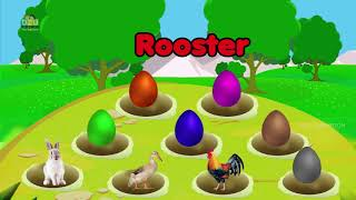Learn Colors With Surprise Eggs Opening Farm Animals - Learn Animals Names & Sounds - 2018