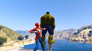 GTA V Water Ragdolls HULK & RED SPIDERMAN (GTA 5 Superhero Battle Euphoria Physics & Jump/Fails)