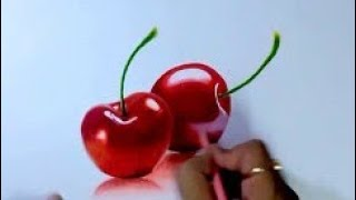 How to draw realistic cherry easy drawing with colored pencils