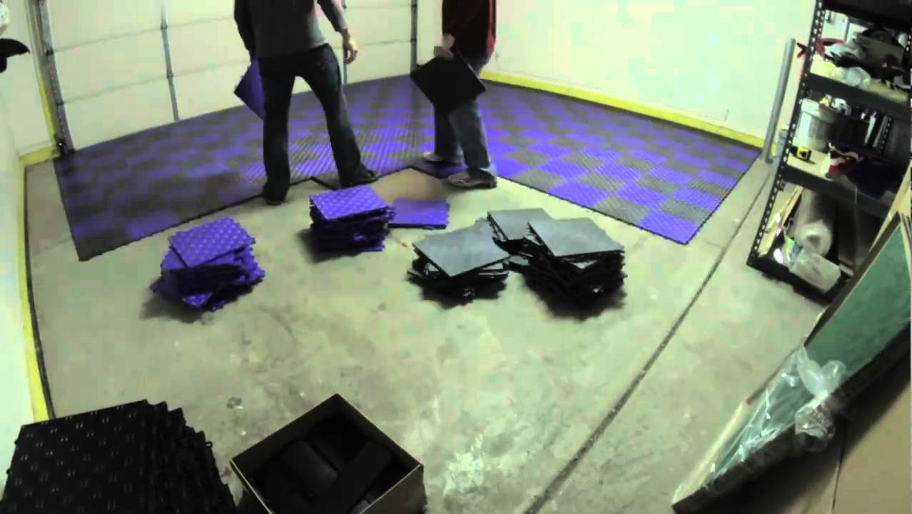 Garage flooring grid lock tiles installation youtube dailygadgetfo Gallery