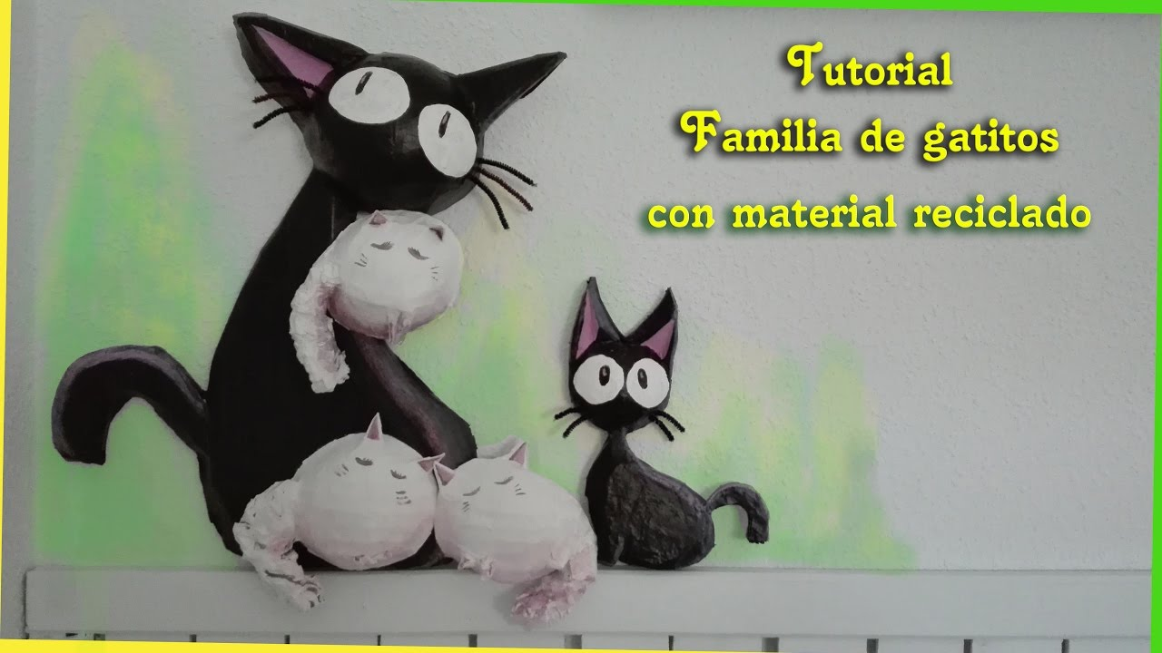 TUTORIAL: Gatos Decorativos con material reciclado. - YouTube
