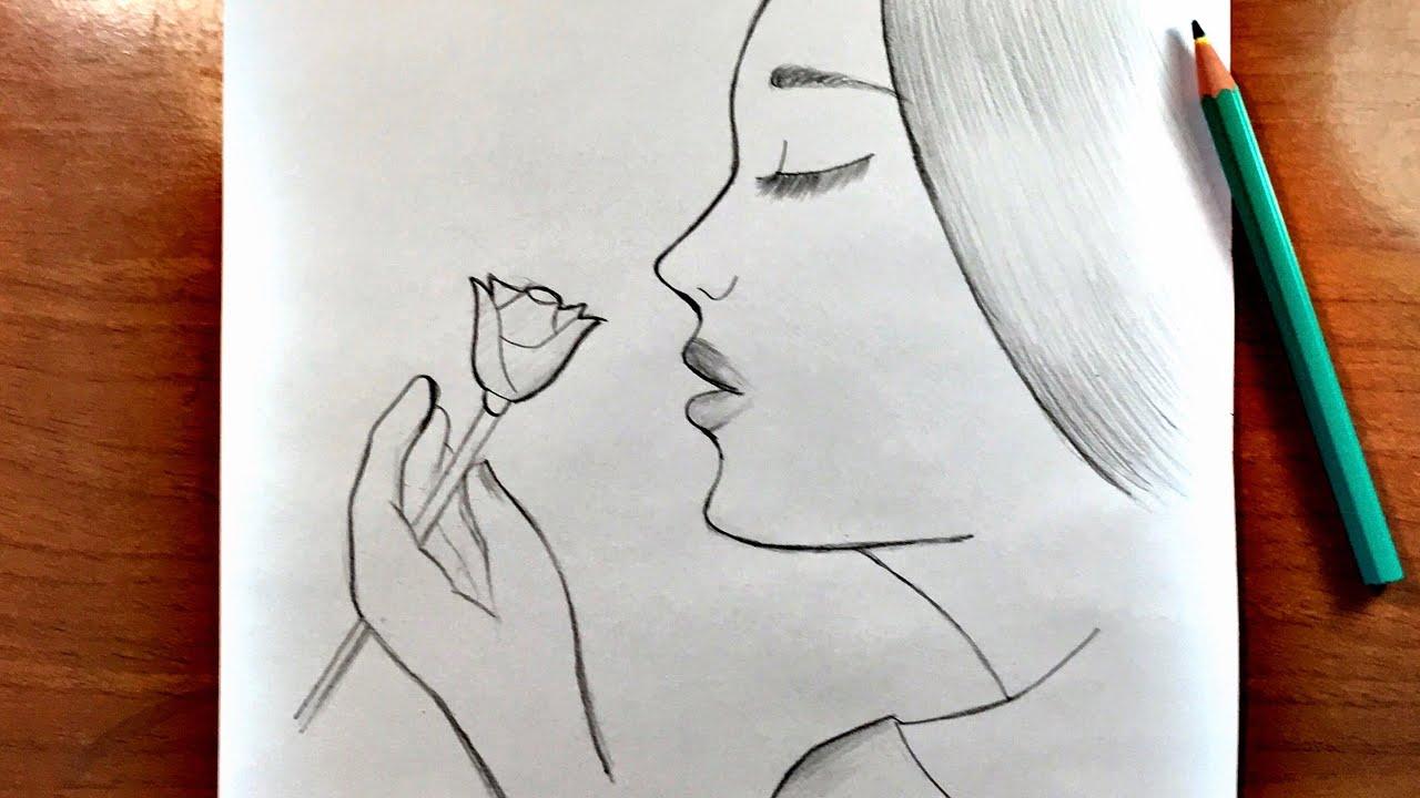 رسم سهل جدا تعلم رسم بنت مع وردة بالرصاص للمبتدئين Youtube