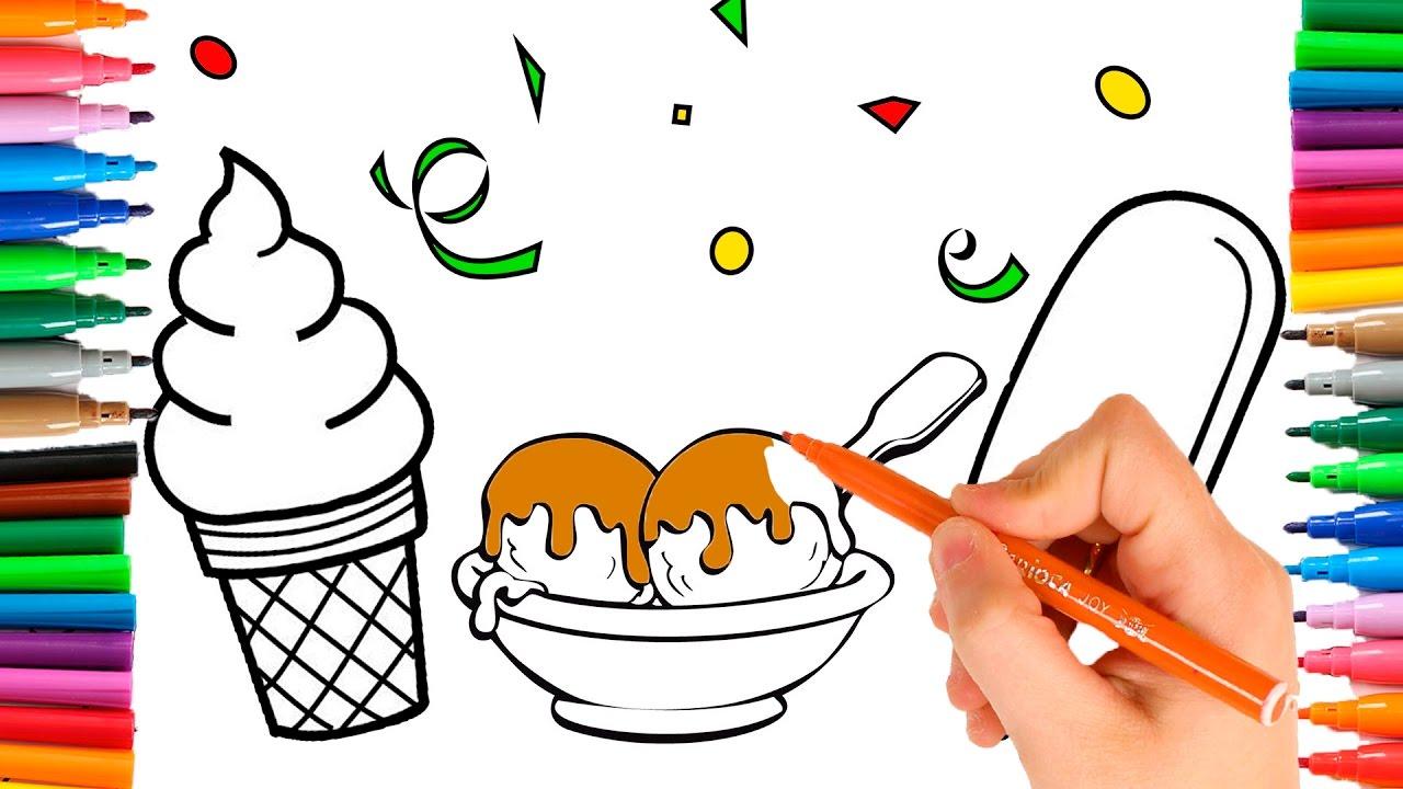 Como Dibujar y Colorear HELADOS 🎨 Aprende los colores ...