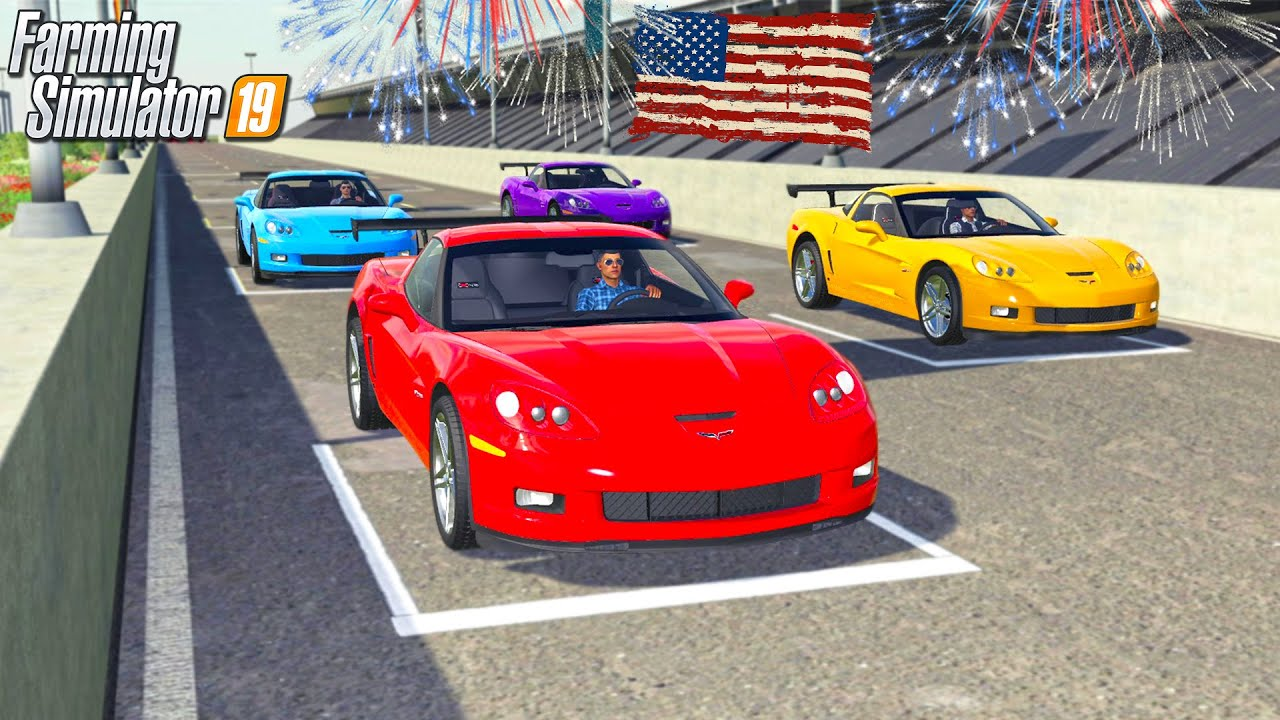 4TH OF JULY RACING MANUAL CORVETTE | MULTIPLAYER (ROLEPLAY) FARMING SIMULATOR 2019