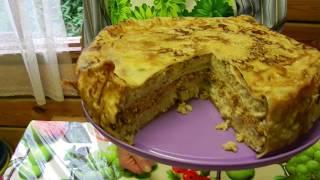 Пирог с рыбой и грибами. Простой пошаговый  рецепт от Борисовны.