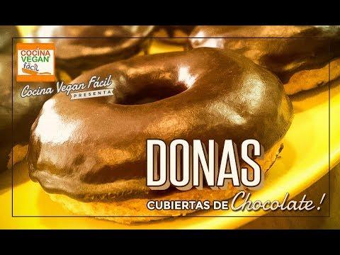 Donas veganas cubiertas de chocolate - Cocina Vegan Fácil