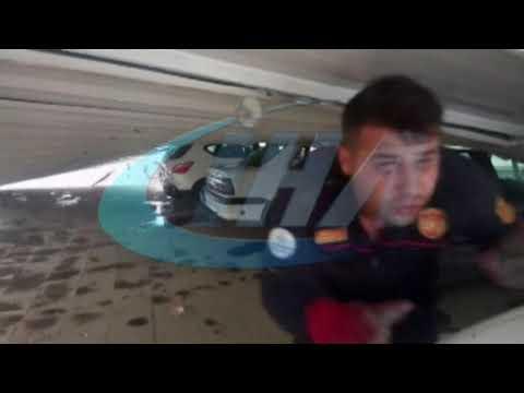 Çatının uçma anı güvenlik kameralarına yansıdı