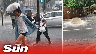 UK weather - London flash floods engulf homes after a month's rain falls in ONE HOUR