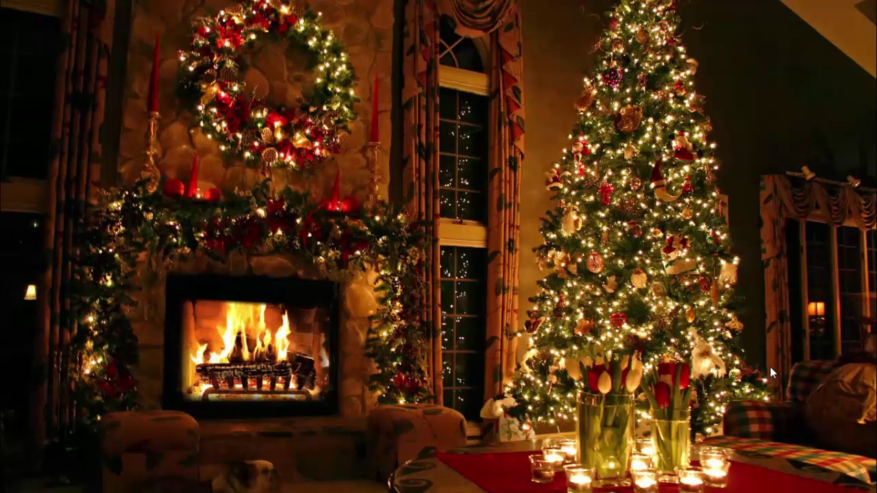 Classic Christmas Music with a Fireplace and Beautiful Background ...