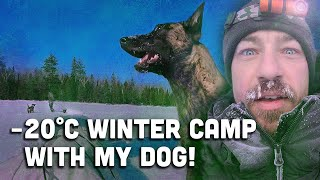 -20 Winter Camping Tŗip with my Dog in a Hot Tent with a Woodstove. Testing Gear for Wilderness Trip