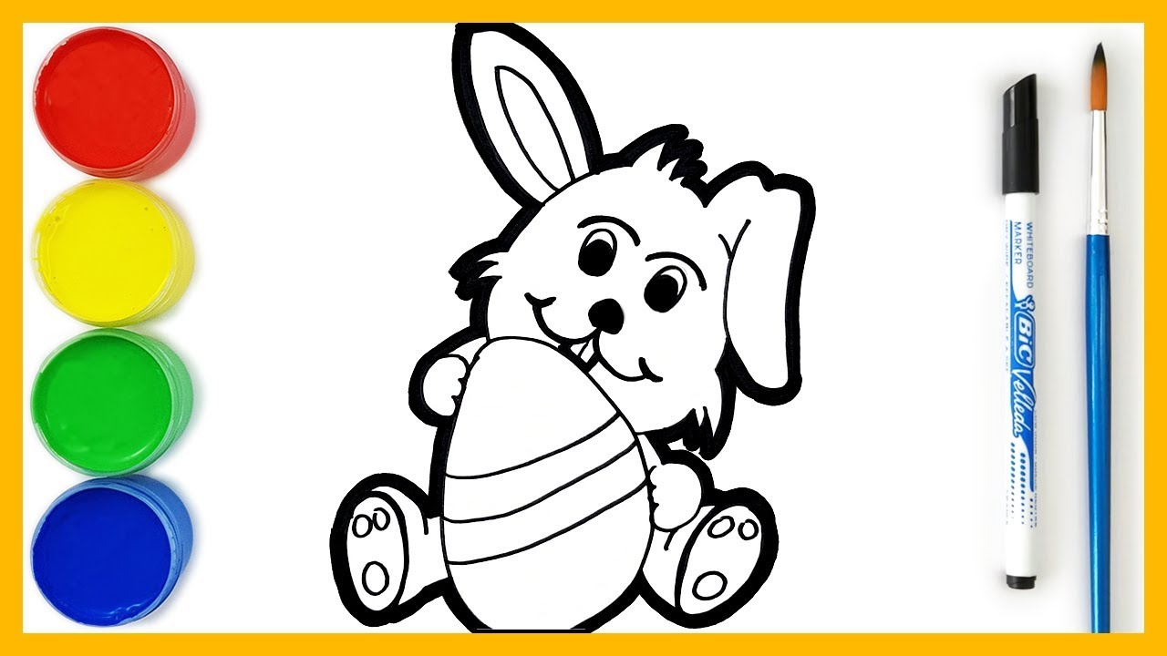 How To Draw The Easter Bunny Coloring Pages Safe Videos For Kids