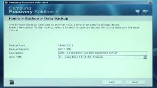Samsung Recovery Solution 4 - Creating a Data Backup