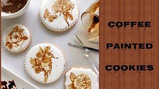 Coffee Painting on cookies and Stamping like alternative. Роспись печенья с помощью кофе.