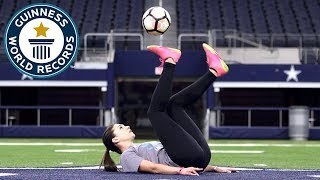 Most touches of a football with the soles in one minute (female) - Indi Cowie Guinness World Records