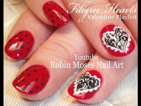 Valentine's Day Nails | Filigree Heart Nail Art Design Tutorial
