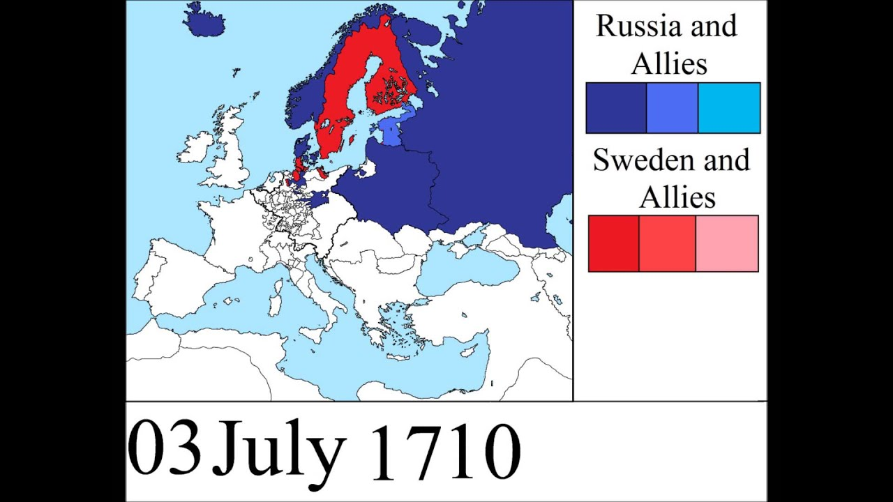Great Northern War YouTube - Sweden russia map