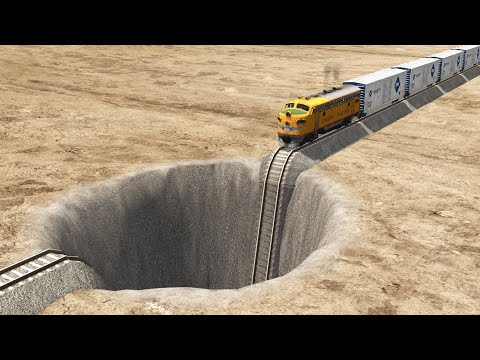 Trains vs Giant Pit – BeamNG.Drive