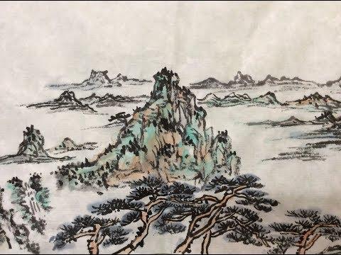 Chinese Ink Wash Painting Tutorial 中国画教学山水篇 笔墨,着色及经营位置 中国の絵 墨絵