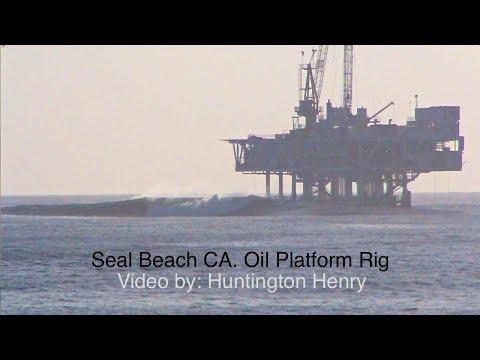Seal Beach Oil Platform Rig- Breaking Surf 1-18-2019 CA.- Surfing